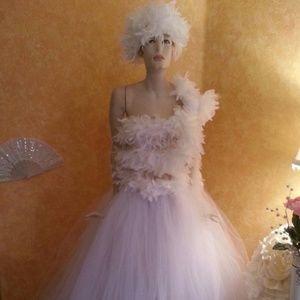 White Swan Feather Lace Tulle Wedding Ballgown Set